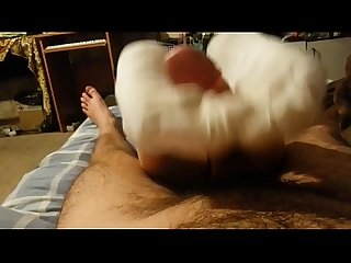 Footjob in white socks and handjob until cum