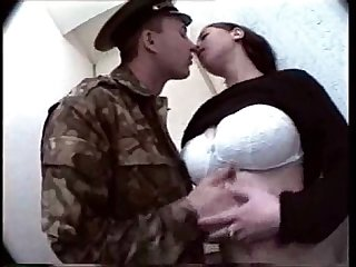 Russian teen with big boobs fucked in Toilet by a Military man