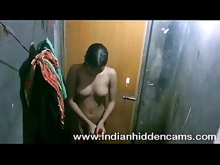 Indian young girl complete her shower recorded by neighbor