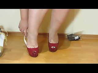 Erotic foot fetish from beautiful Bbw period nylon comma high heeled shoes and A pedicure period