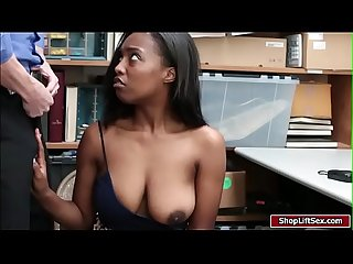 Ebony shoplifter sucks Officers cock