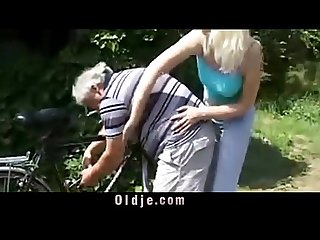 So dirty blonde slut is rimming grandpa ass