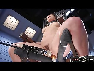 Restrained babe cumming during machine sex