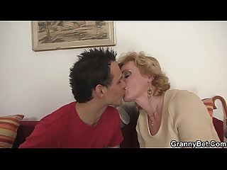 Young guy picks up mature blonde for play