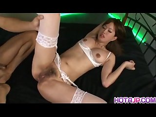 Emiri senoo in white stockings has mouth and twat full of dicks
