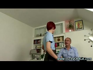 Older british guy fucks redhead with long legs