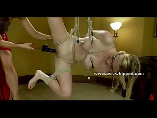 Busty lesbian tied in ropes spanked