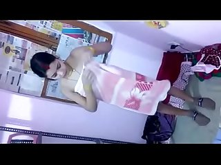 Indian Desi girl changing clothes in home recorded by her brother