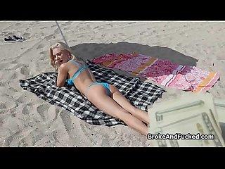 Hot sex beneath lifeguard tower