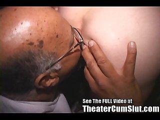 Nasty anal cum slut in a porn theater