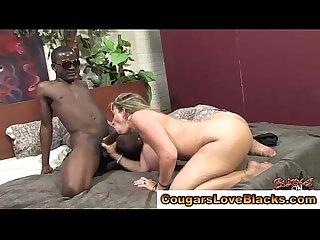 Big tits cougar gets interracial dick