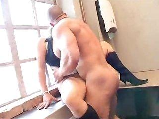 Busty german babe fucks janitor