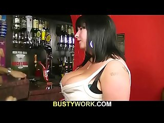 Big boobs barmaid doggy-slammed at work