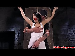 BDSM sub spreadeagle for pussy fingering