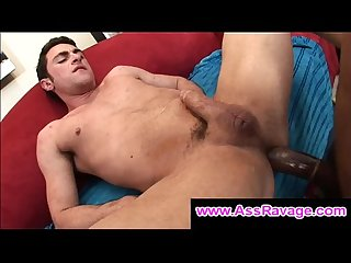 White gay pounded in the ass by huge black cock doggystyle