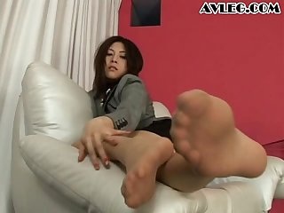 Asian secretary in pantyhose stocking nylon foot fetish