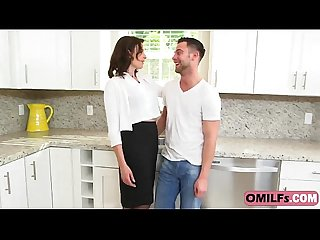Sexy brunette mommy helena price seduces and fucks younger stud