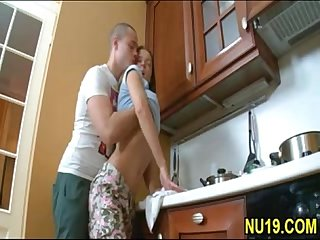 Cute young teen sister taboo sex with older brother in kitchen