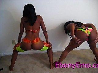 Two black round big booty