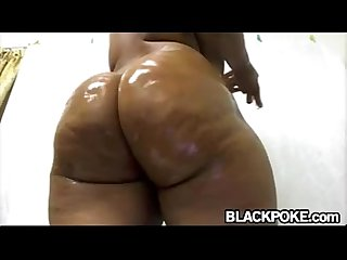 Amazing oiled black booty teasing
