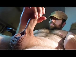 Sexy hot hairy bear jacks off and cums