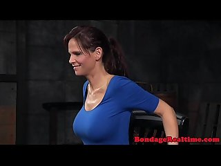Deepthroated busty restrained sub gagging