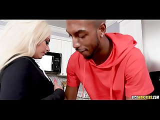 Black kitchen cock for blonde