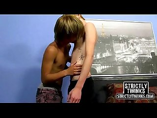 Two sexy blonde teen twinks with small bodies fucking