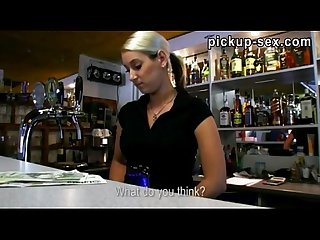 Hot blonde bartender gets pussy banged good for money