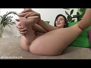 Tight bodied brunette fills her pink pussy with big dildos