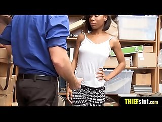 Cute ebony shoplifter chick gets punish fucked hard
