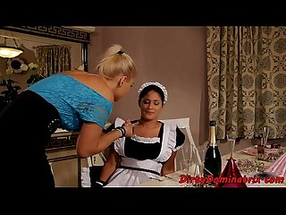 Eurobabe dominates teen housemaid