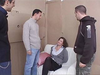Sexy milf tied up and violently banged by three bad guys