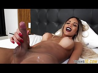 Solo Ts tugging on her fat cock