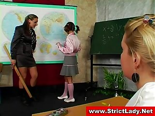 Slutty school girls get dominated by their femdom teacher
