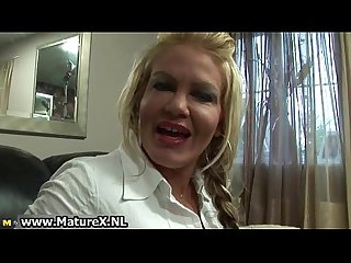 Blonde old mom showing of her big