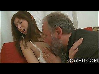 Lustful old boy fucks young angel