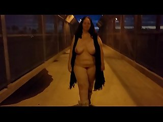 public bbw naked walk freeway overpass