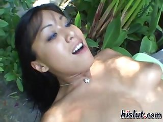 Asian slut rides a cock for some cum