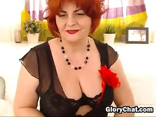 Big red haired granny strips