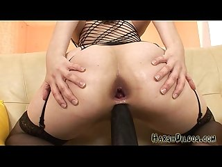 Audrey does some huge dildos