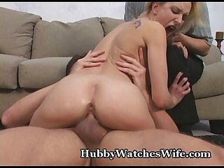 Hubby watches wife get banged