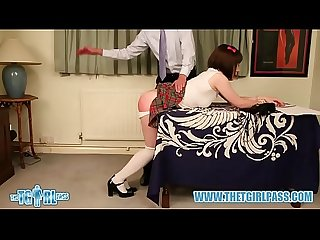 Brunette crossdresser hard ass spanking