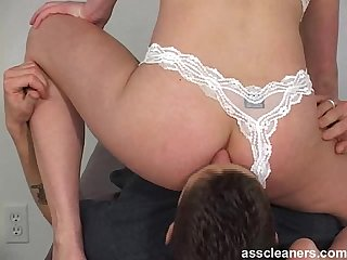 Ass cleaner sings while licking mistress ass hole