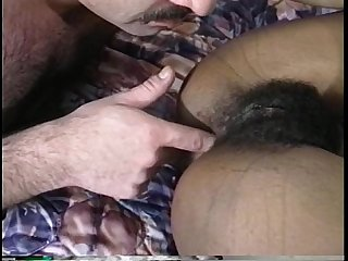 Hairy black chick getting fucked by arabian dude