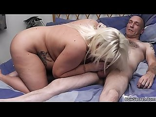 Lovely big boobs blonde helps him cum