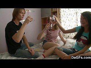 Lesbian teen couple seduce a guy