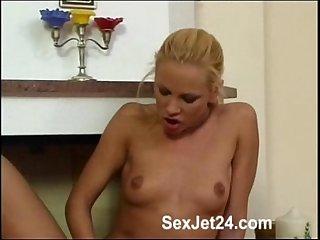 Blonde Girl blue Dildo part 1
