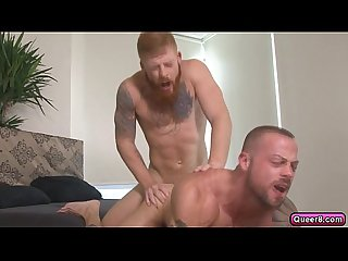 Muscled tattooed hunk gets mouth and butt fucked