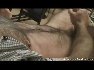 Very hairy guy jerking off